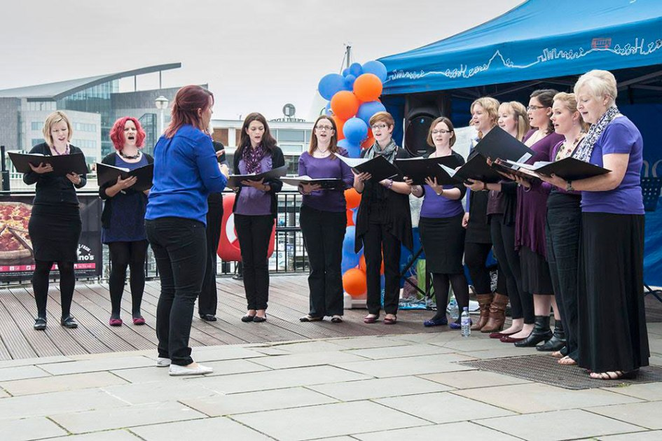 singing in Cardiff Bay