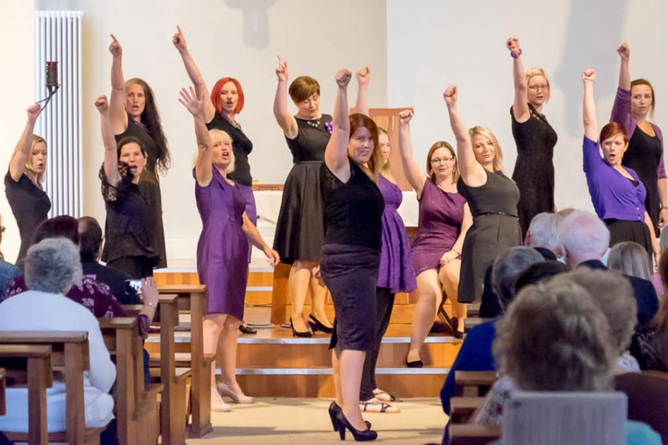 Female voice choir singing in Cardiff